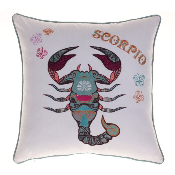 Horoscope Scorpio 100% Cotton Throw Pillow by 14 Karat Home Inc.